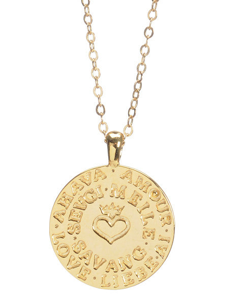 hayluv collection 16 14k vermeil gold necklace with small language