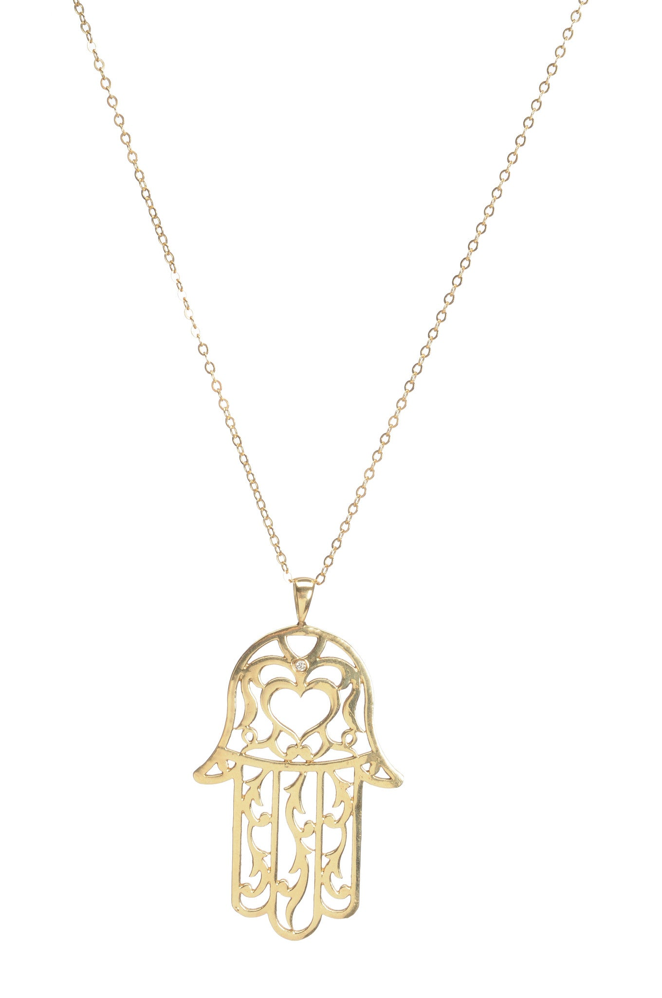 Hayluv collection 16 14k vermeil gold necklace with small hamsa hayluv collection 16 14k vermeil gold necklace with small hamsa gold pendant aloadofball Gallery