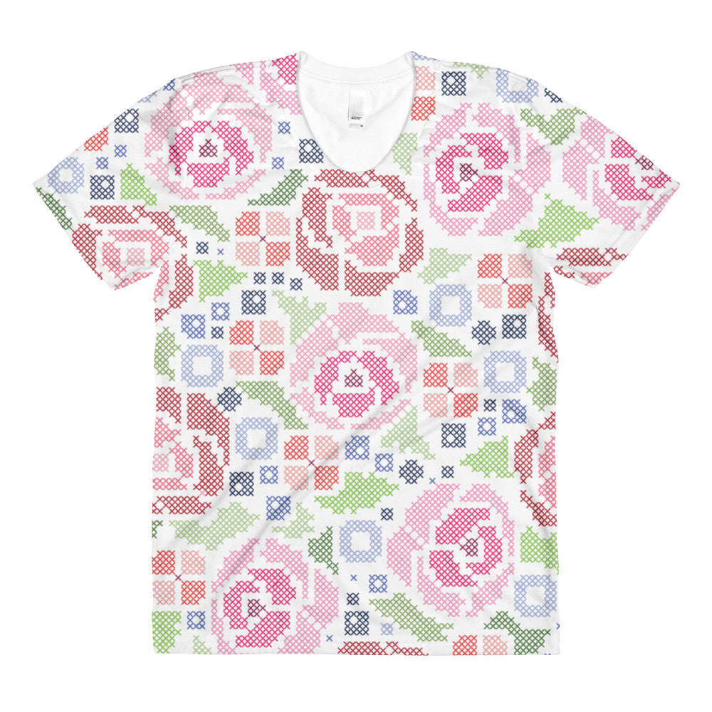 All-Over Cross-Stitch Floral Women's Crew Neck T-shirt
