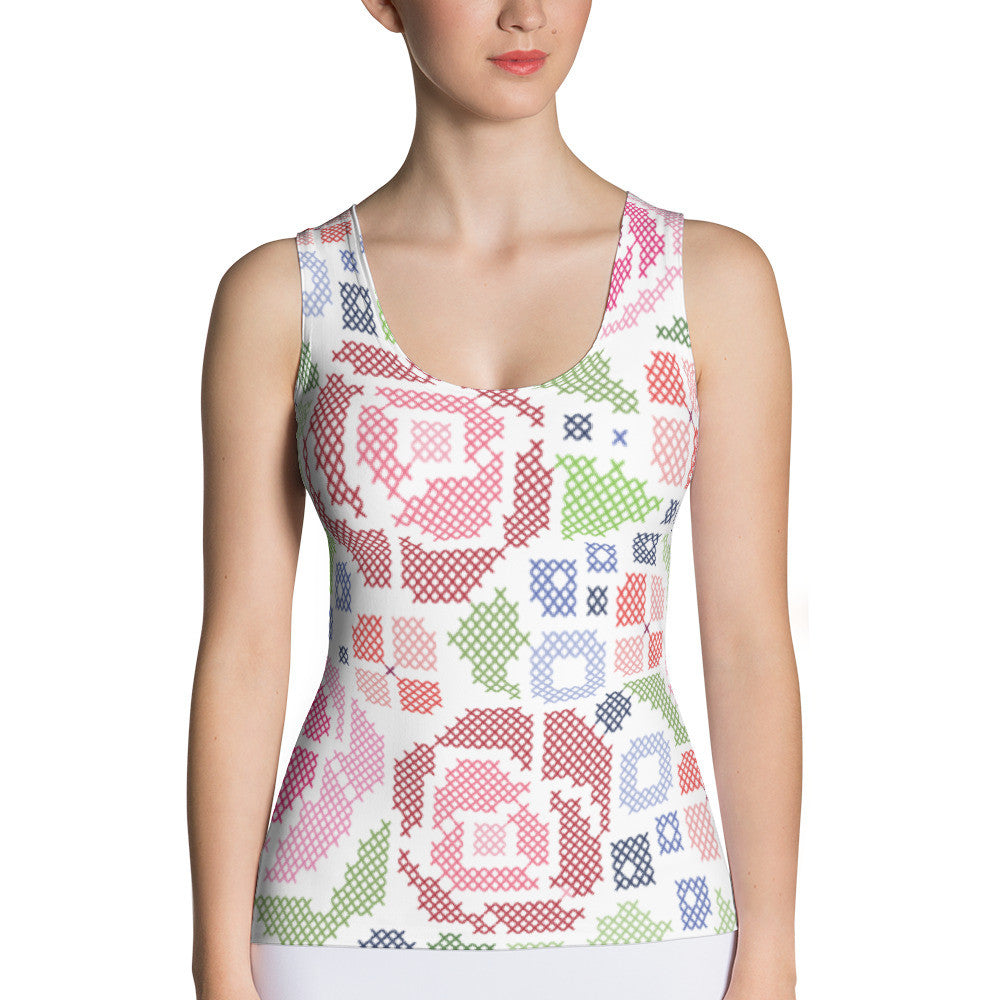 All-Over Cross-Stitch Floral Women's Tank Top