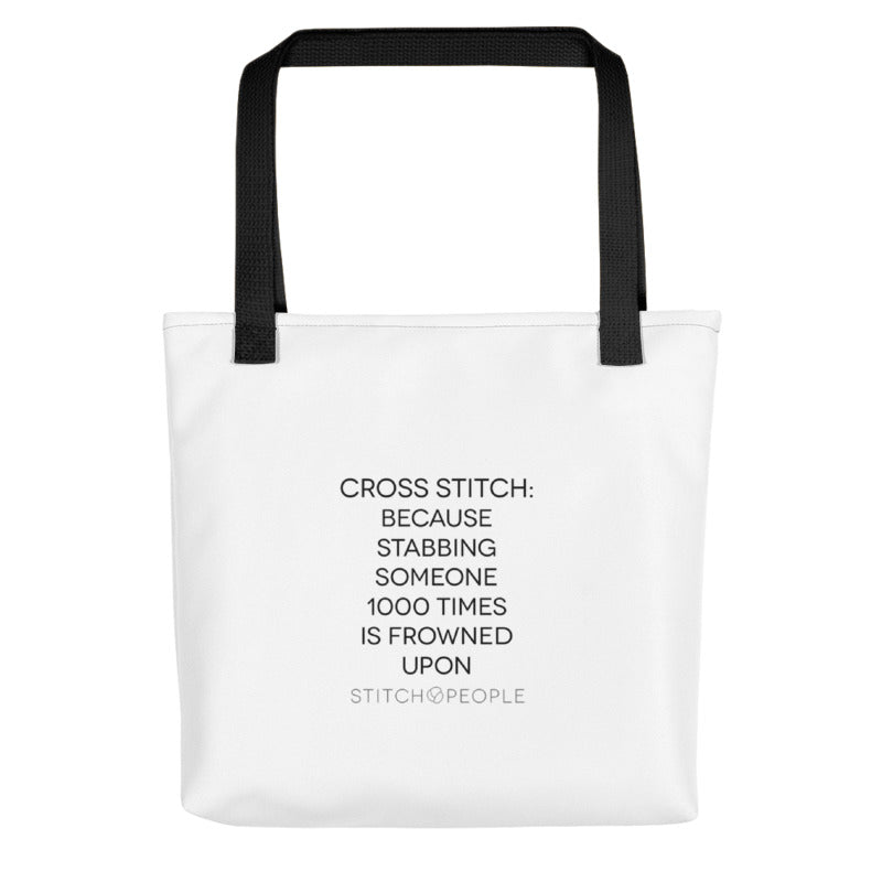 Coping by Cross Stitch Tote Bag