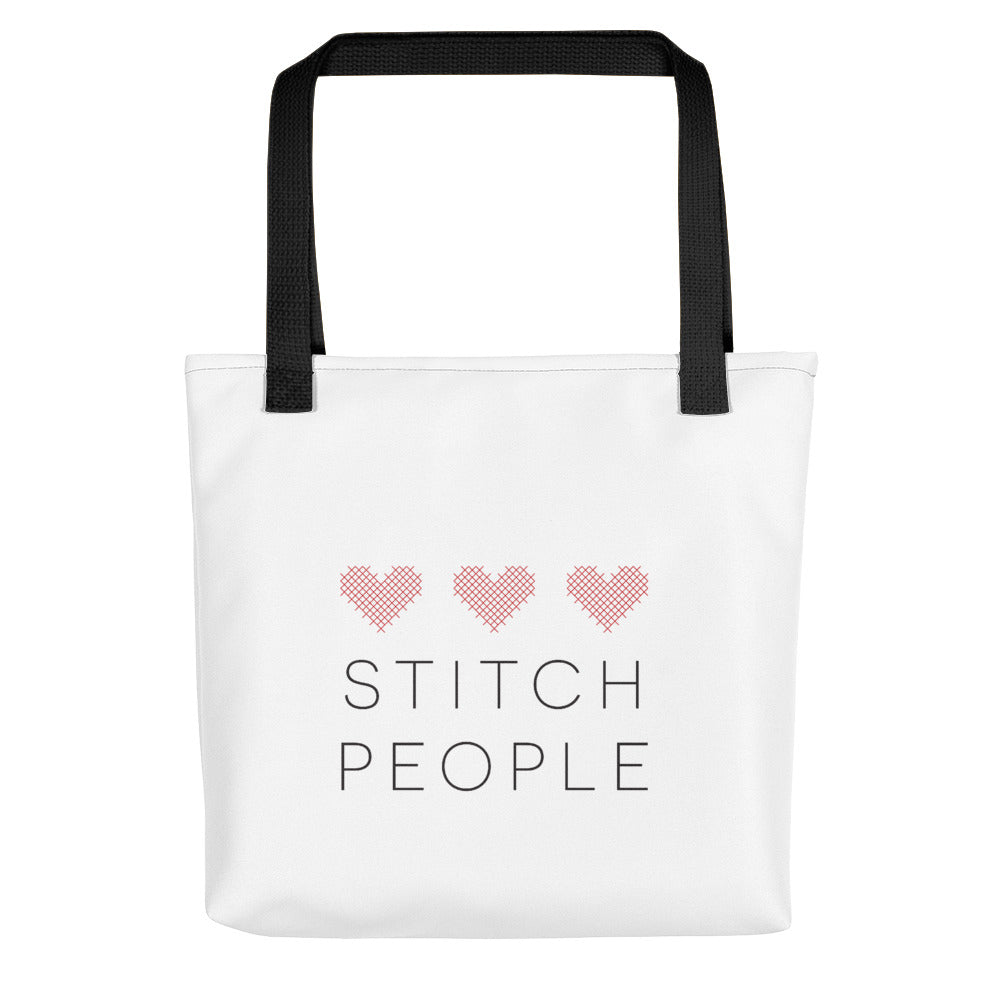 Triple Heart Stitch People Cotton Tote Bag