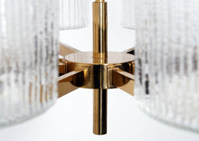 Load image into Gallery viewer, EIGHT SHADE GLASS AND BRASS CHANDELIER, 1960s