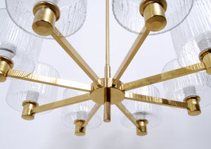 EIGHT SHADE GLASS AND BRASS CHANDELIER, 1960s