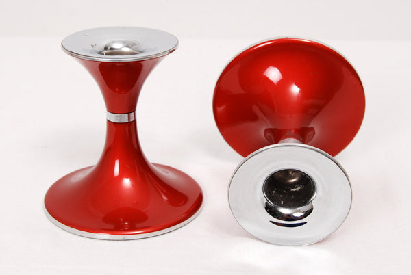 Vintage Red Enamelled Candlesticks 1970s