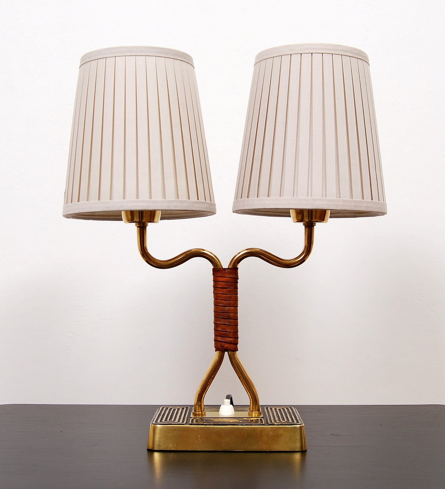 Asea Brass & Leather Table Lamp 1950s