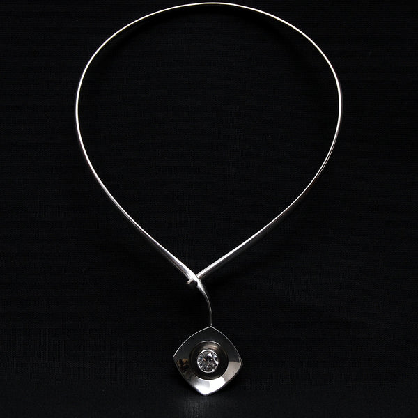 Sterling Silver Rock Crystal Modernist Necklace Alton Sweden, 1968