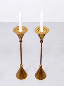 1960s Scandinavian Brass Floor Candle Stands, Set of 2