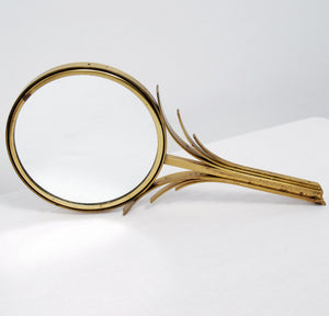 Art Deco Hand Mirror in Brass by Ystad Metall, 1930s