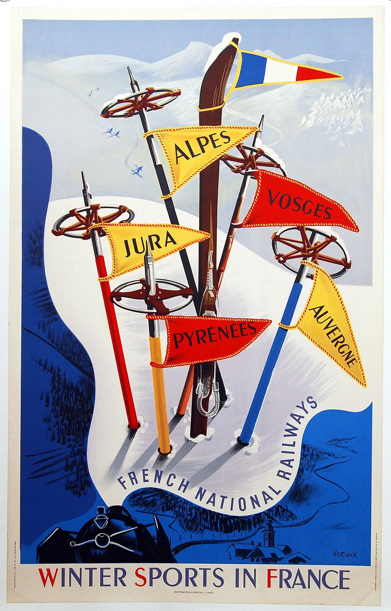Original Winter Sports In France Poster by Vecoux 1947