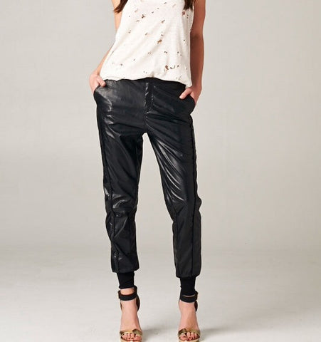 Cuffed Faux Leather Pants