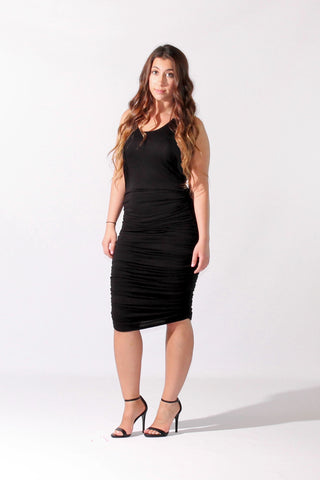 Ruched Racer Back Midi Tank Dress