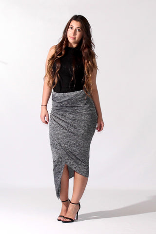 Asymmetrical Wrap Banded Body Con Skirt (more colors)