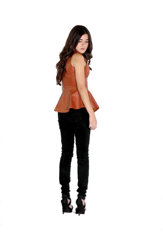Faux Leather Zip Up Peplum Vest