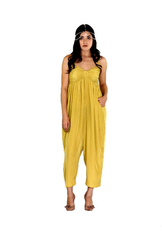 Bow Jumpsuit in Chartreuse