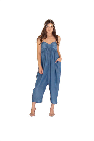 Bow Jumpsuit in Blue