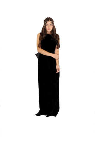 Designer Black Velvet Evening Gown