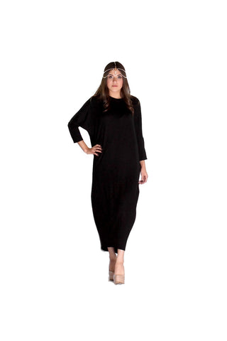 Black Jersey Draped Caftan