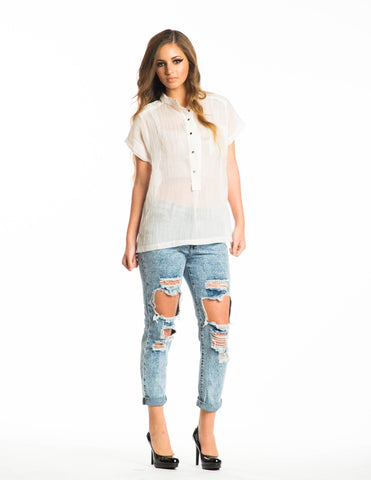 White Delhi Halfway Button Down Top
