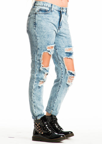 Holey Moly Acid Washed BF Jeans