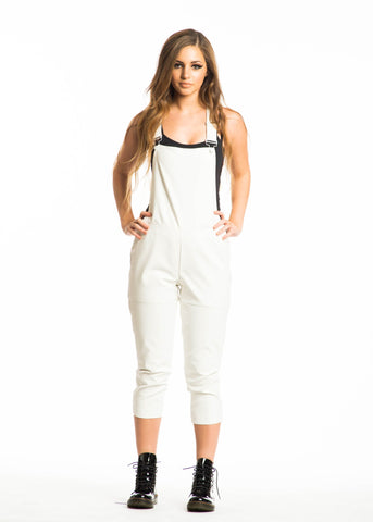 White Faux Leather Overalls