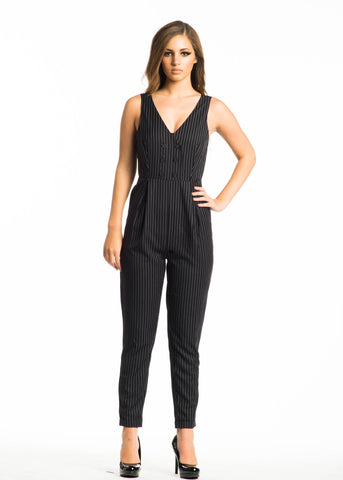Pinstripe 'Boss Lady' Jumpsuit