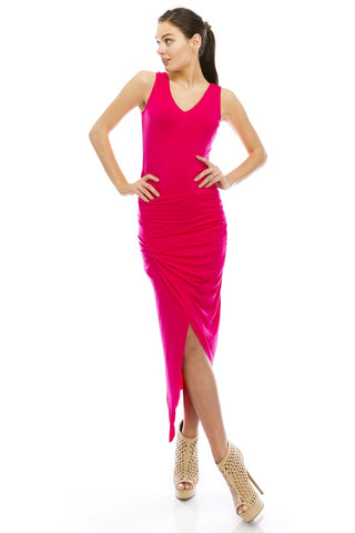 Hot Pink Asymmetrical Stretch Dress
