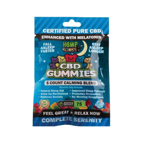 HEMP BOMB CBD SLEEP GUMMIES 5 COUNT, 15MG PER PIECE