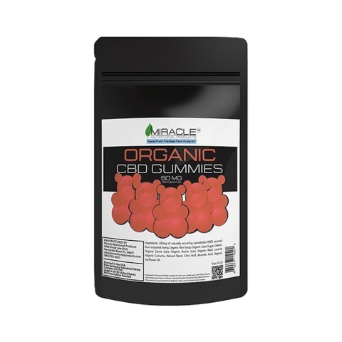CBD MIRACLE ORGANIC GUMMIES, 50MG PER PIECE