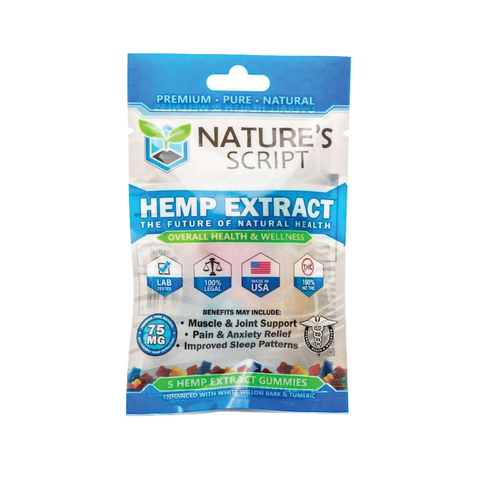 CBD NATURE'S SCRIPT GUMMIES 5 COUNT, 15MG PER GUMMY