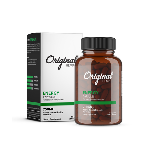 Original Hemp CBD Capsules 750mg 30 count Bottle - Energy