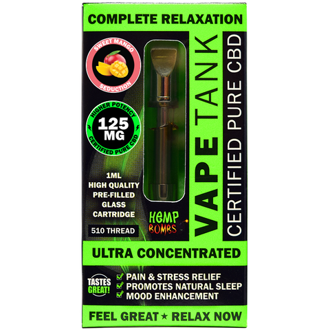 HEMP BOMB CBD VAPE TANK CARTRIDGE 125MG, SWEET MANGO
