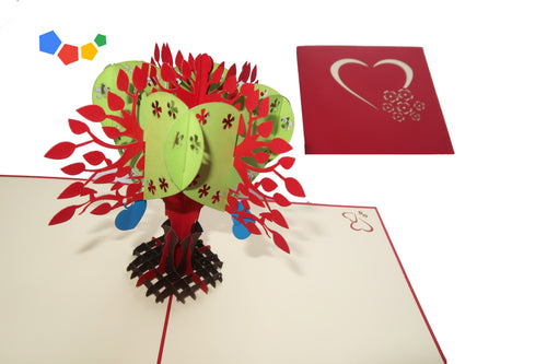 BLOOMING TREE OF HEARTS 3D POP-UP CARD