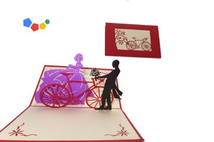 WEDDING COUPLE NEXT TO BICYCLE 3D POP-UP CARD