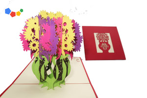COLOURFUL FLOWER VASE 3D POP-UP CARD