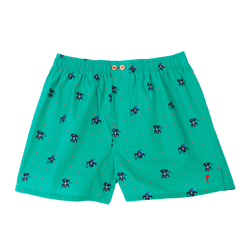 Funky Chimpa: Green, with a chimpanzee. Limited edition boxers designed in Barcelona. 100% soft cotton poplin.