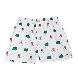 Peter Explorer: White, with Peter exploring. Limited edition boxers designed in Barcelona. 100% soft cotton poplin.