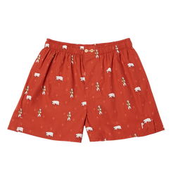 Ginger Bear: Garnet, with a bear. Limited edition boxers designed in Barcelona. 100% soft cotton poplin.