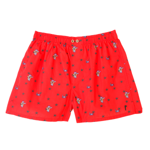 Hypo: Coral, with an hippo. Limited edition boxers designed in Barcelona. 100% soft cotton poplin.