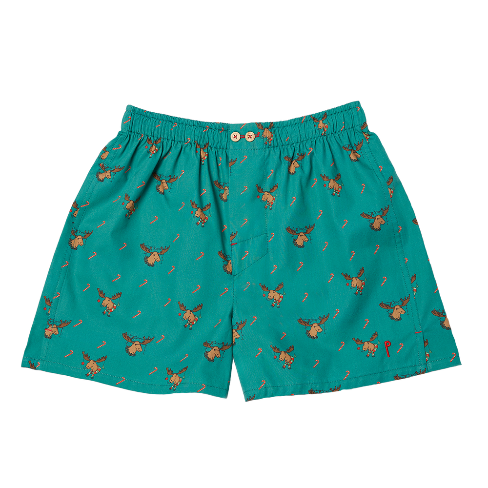 Reynol: Dark green, with a reindeer. Limited edition boxers designed in Barcelona. 100% soft cotton poplin.