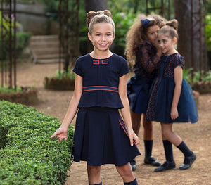 comfortable matching navy blouse and skirt for girls