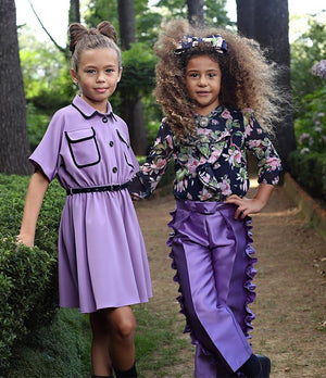 purple pretty kids clothes and dresses