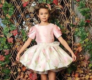designer rose print dresses and matching outfits for kids