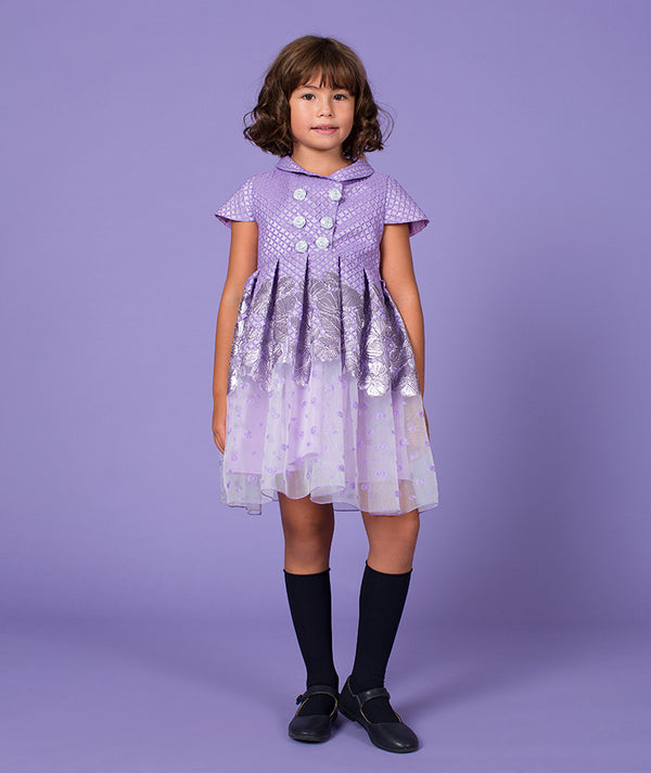 Girl in exotic luxury kids dress in lilac by Mama Luma