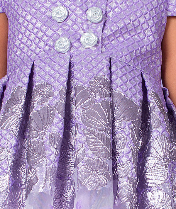 Purple jacquard dress for kids by Mama Luma