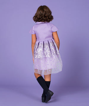 Back of girl in lilac designer kids dress with sheer skirt by Mama Luma