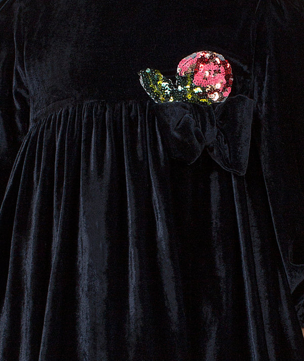 Black velvet dress with roses by Mama Luma
