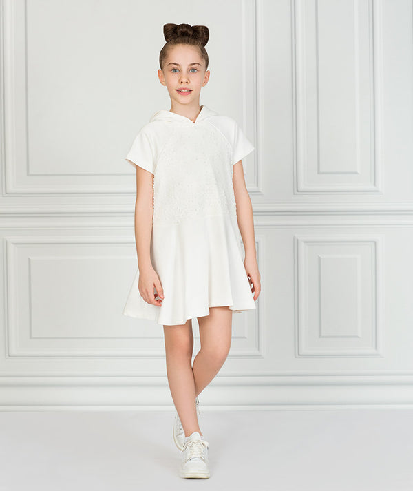 Girl in white casual track dress for kids