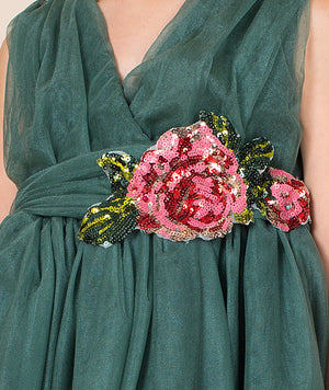 Green holiday dress with embroidered rose for girls by Mama Luma