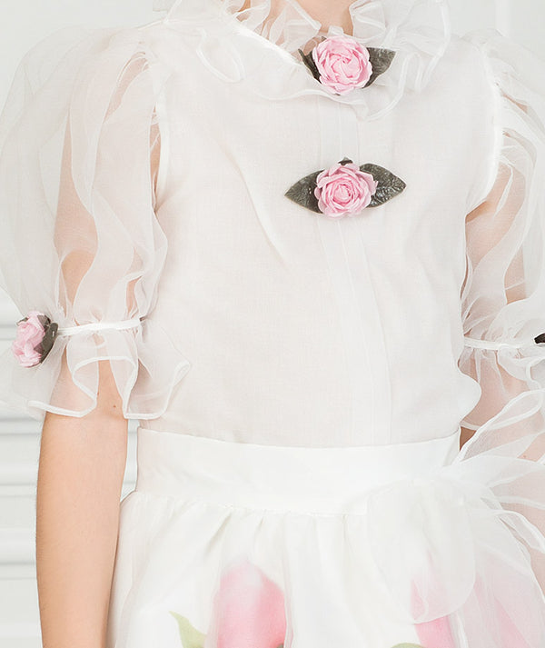 Girl in white chiffon  floral outfit for kids with flower appliqué in the sleeves and neck